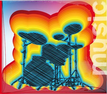 illustration of a drum set. Vector illustration Stock Vector - 11370710