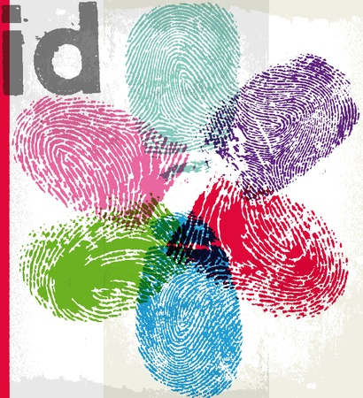 thumbprint: Id finger print. Vector illustration Vettoriali