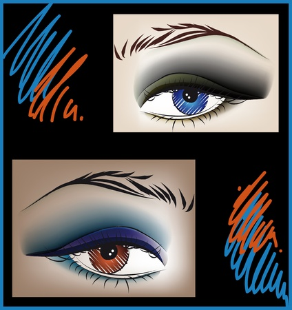 smoky eyes: Sketch of beautiful eyes. Vector illustration