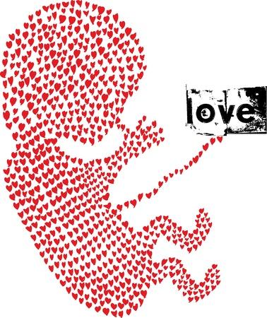 por nascer:  fetus made with love. Vector illustration  Ilustração