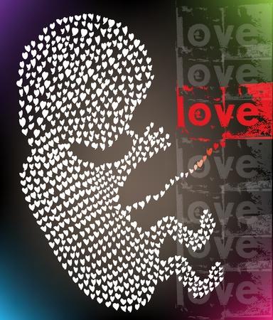 prueba de embarazo: feto, hecho con amor. Ilustraci�n vectorial Vectores