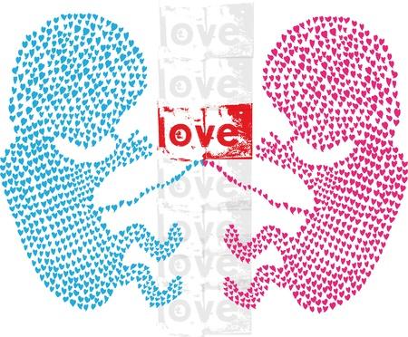 feto: Los gemelos hechos con amor. Ilustraci�n vectorial