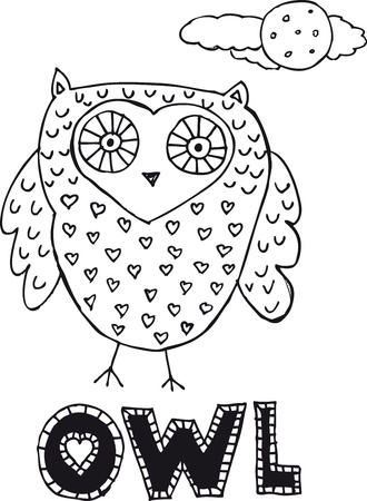 drawing of an owl. Vector illustration  Vector