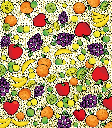 fruity salad: Fruit pattern. Vector illustration