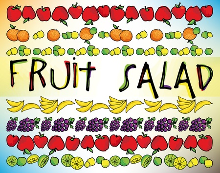 fruity salad: Fruit salad. Vector illustration