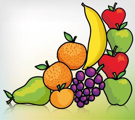comidas saludables: Diferentes frutas. Ilustración vectorial Vectores