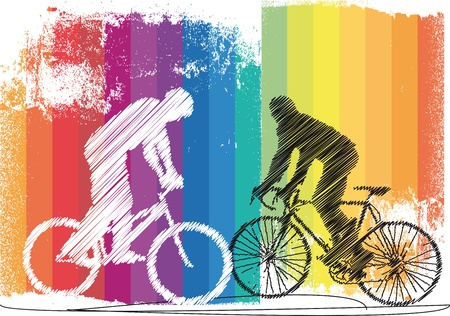 cycle race: Bikers. Vector illustration