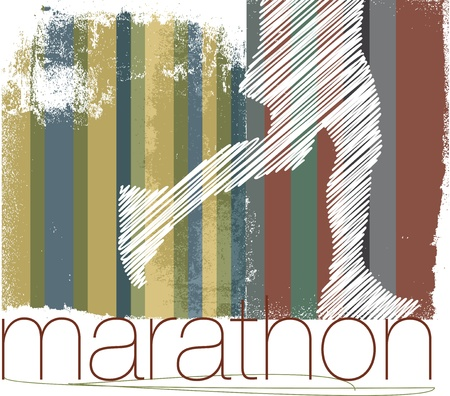 road runner: Marathon runner in abstract background. Vector illustration