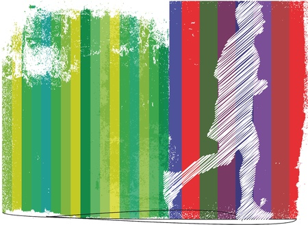 road runner: Marathon runner in abstract background. Vector illustration