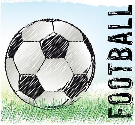 kickball: Soccer ball sketch, vector illustration  Illustration