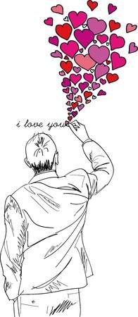 vector  love: male writing i love you. vector illustration  Illustration