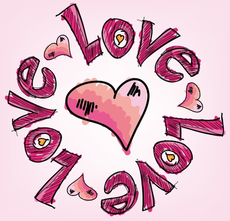 heart with text: love. Vector illustration Illustration