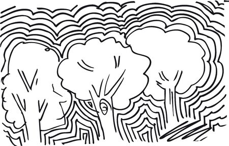 abstract sketch of trees background. Vector illustration  Vector
