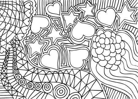 hand drawn abstract valentine background. Vector illustration. Vector