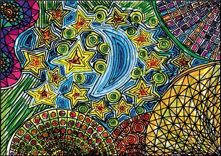 midnight: Moon and stars sketch. Vector illustration