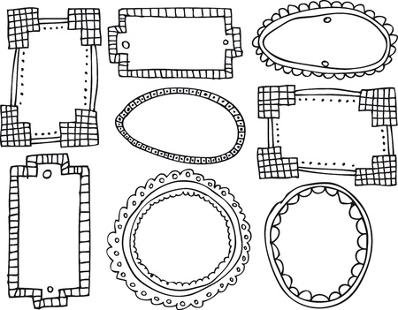 doodle frame: Set of vintage frames. Vector illustration