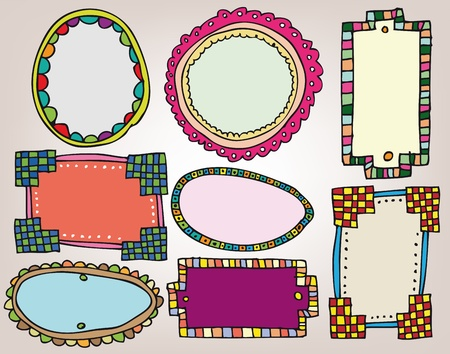 hand drawn frame: Set of vintage frames. Vector illustration
