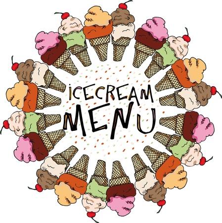 helado caricatura: Crema de hielo Sketch. ilustración vectorial