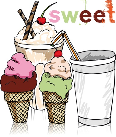 Ice Cream Sketch. vector illustration  Vector