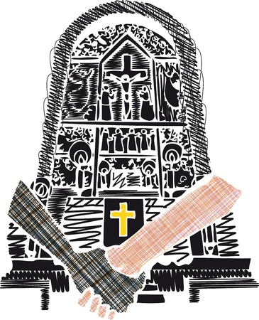 spanish ethnicity: holding hands in church, vector illustration  Illustration