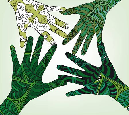 renewable resources: Hand shape made with abstract plants pattern. vector illustration