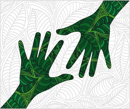Hand shape made with abstract plants pattern. vector illustration  Vector