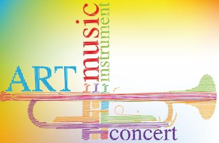 trumpet: Abstract trumpet. Vector illustration