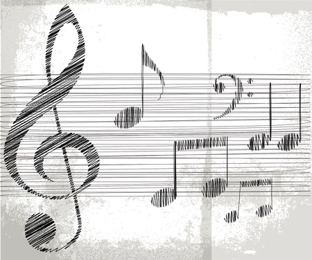 music notes vector: sketch of music notes. Vector illustration