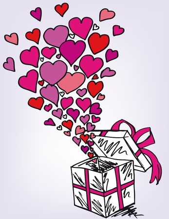 gift boxes sketch filled with much love. Vector illustration Stock Vector - 11487007