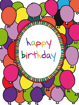 people celebrating: Birthday card with colored balloons border. Vector illustration
