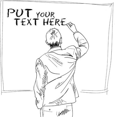 successful student: maschio scrivere qualcosa a bordo. Vector illustration Vettoriali