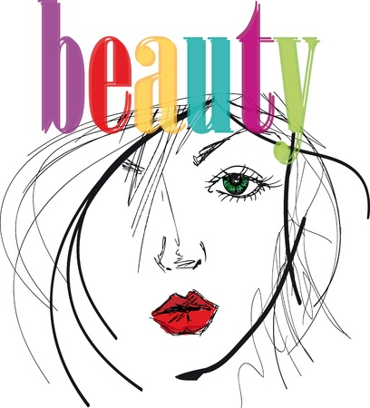 beauty make up: artista attinge bella illustrazione volto femminile.