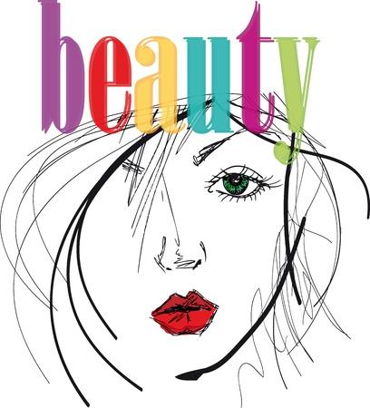 artista dibuja la ilustración hermosa cara de la mujer. Ilustración de vector