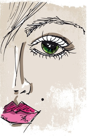 Sketch of beautiful woman face. Vector illustration Vector