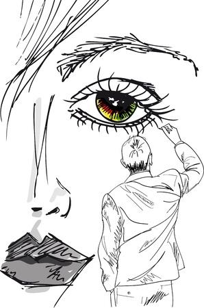 outline drawing: artista disegna la faccia bella donna. Illustrazione vettoriale.