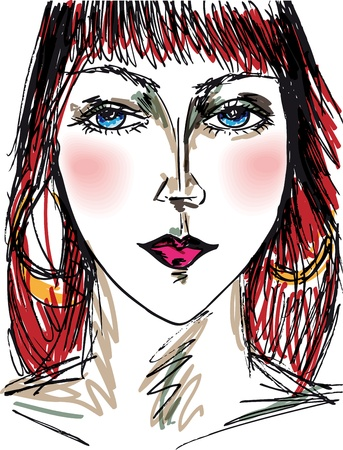vogue style: Sketch of beautiful woman face. Vector illustration