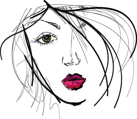 taglio capelli: Sketch del volto di bella donna. Vector illustration