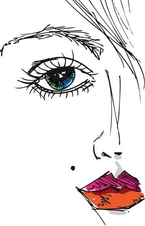 labios sexy: Boceto de rostro de mujer hermosa. Ilustraci�n vectorial