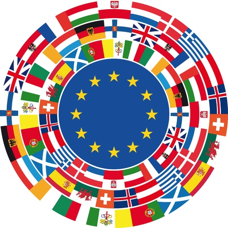 all european flags: United Europe Background. Vector illustration