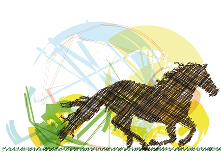 dressage: Croquis de cheval abstrait. Vector illustration Illustration