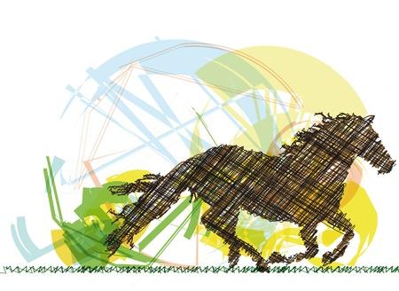 trotando: Dibujo de caballo abstracto. Ilustraci�n vectorial