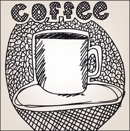 cofe: Sketch of Coffee cup. Vector illustration