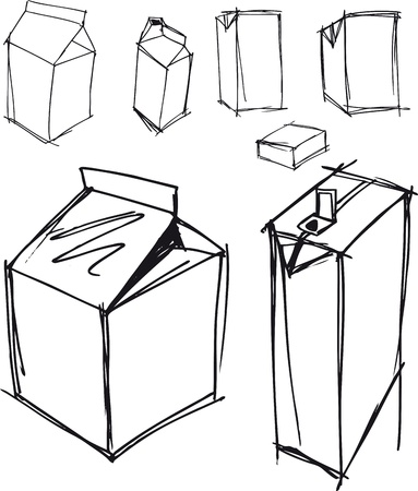 litre: Sketch of milk boxes in some different angle. Vector illustration