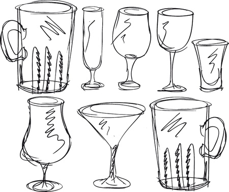 tonic: various types of glasses. Vector illustration