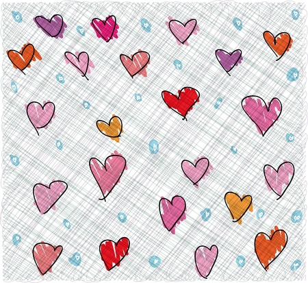 heart sketch: Abstract valentine background. Vector illustration.