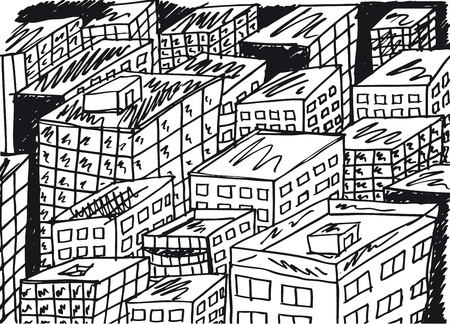 building sketch: Sketch of abstract city. Vector illustration.