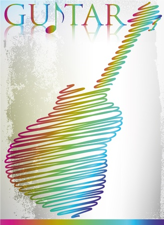 folk festival: Abstract guitar. Vector illustration