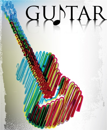 guitarists: Abstract guitar. Vector illustration