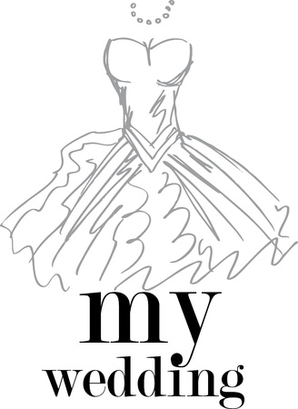 white dress: My wedding. Vector illustration