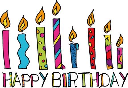eight: happy birthday candles. vector illustration